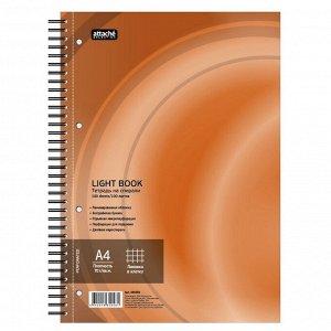 Бизнес-тетрадь 100л,кл,А4,LightBook,спираль,обл.оранж,блок белый ...