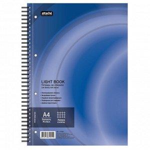 Бизнес-тетрадь 100л,кл,А4,LightBook,спираль,обл.синий,блок белый ...