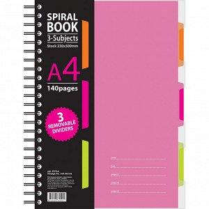 Тетрадь 140л,кл,А4,SPIRAL BOOK Розовый,евроспир,обл.пласт,разд.84...
