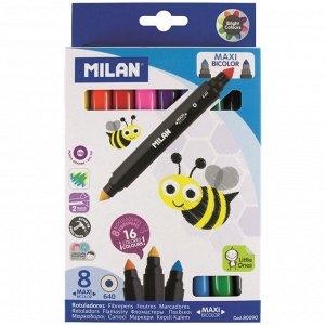 Фломастеры 16цв 8шт двухсторонние Milan Bicolour Maxi, 80090