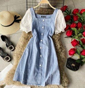 Джинсовое платье, белые рукава