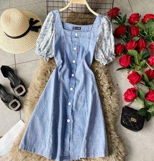 Джинсовое платье, цветные рукава