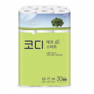 "Мягкая туалетная бумага ""CODI - ECO Smart"" (трехслойная, с тиснёным рисунком)  22 м х 30 рулонов / 3"