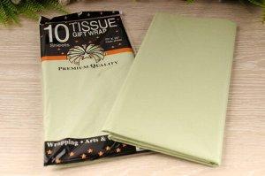 Бумага тишью (зелёный перламутр), 50*66см, упак. 10шт