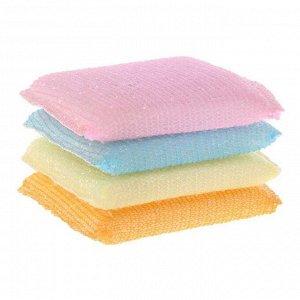 Губка для мытья и чистки посуды Rainbow, 4 шт 28991kh