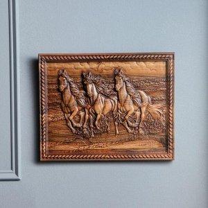 """Панно """"Тройка лошадей"""", массив ореха, 40 х 31 см"""