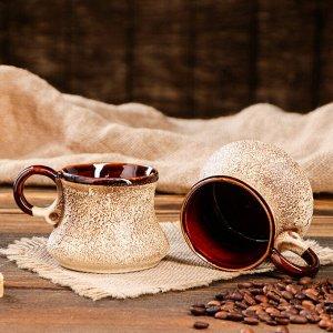 "Кофейный набор ""Мюзле"", под шамот, 3 предмета: турка 0.5 л, чашки 0.2 л"