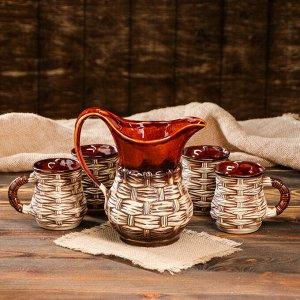 """Набор для напитков """"Лоза"""", 5 предметов: кувшин 1 л, чашки 0.25 л"""