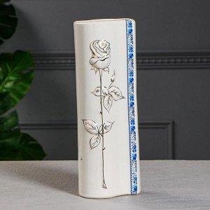 """Ваза настольная """"Роза"""" роспись золото, белая, 34 см, микс, керамика"""