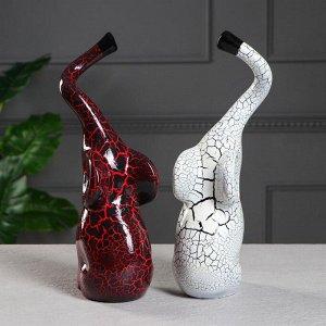 """Набор статуэток """"Слоны Инь-Янь"""". кракелюр. красно-белый. 33 см"""