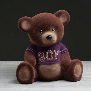 """Копилка """"Мишка: boy"""", флок, коричневый цвет, 25 см, микс"""