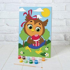 Картина по номерам «Сова с кексом» 20х30 см