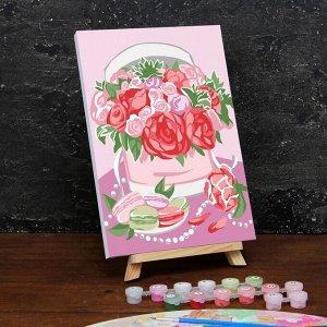Картина по номерам на холсте с подрамником «Букет в шляпной коробке» 20?30 см