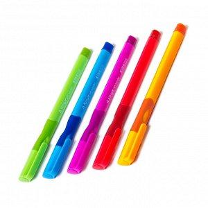 Ручка шариковая синяя Alingar, для левшей, резин.грип, корпус ассорти,  0,7мм (24шт)