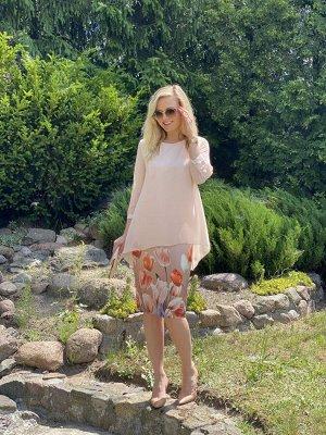 Платье Платье Azzara 683П  Состав: ПЭ-95%; Спандекс-5%; Сезон: Лето Рост: 164  Платье женское, нарядное, комбинированное из разных видов ткани, имитация платья с шифоновой накидкой. Изделие полуприле