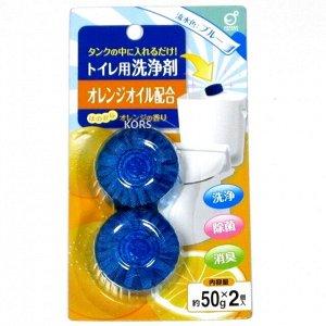 """""""Okazaki"""" Очищающая и дезодорирующая таблетка для бачка унитаза (с ароматом апельсина) 50гр*2шт"""