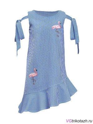 Платье Платье-силуэт трапеция, без рукава с завязками на бант. Внизу косой волан, горловина и пройма обработаны обтачкой. Кулирка 100% хлопок