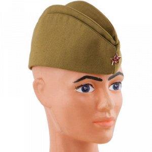 Пилотка военная со звездой текстиль р.56
