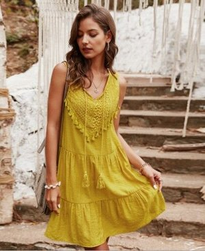 Женское платье, желтое, с бахромой