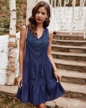Женское платье, синее, с бахромой