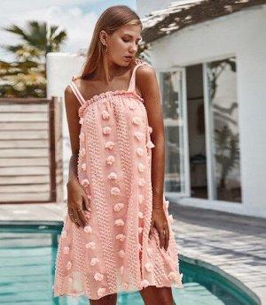Женское платье,  розовое,  с бахромой