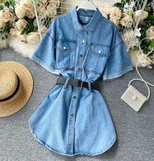 Джинсовая удлиненная рубашка-платье,голубой