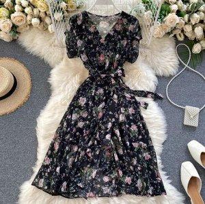 Платье на запах, черный