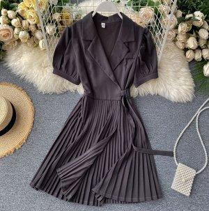 Платье плиссированное на запах, темно-серый