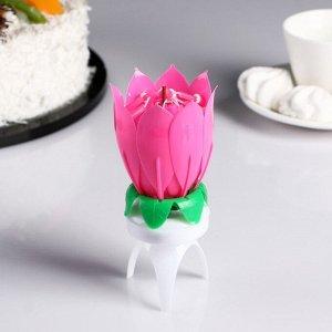 """Свеча для торта музыкальная """"Бутон"""". крутящаяся. розовая"""