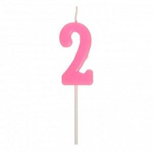 Свеча в торт цифра 2. розовый