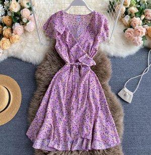 Платье на запах,сиреневый