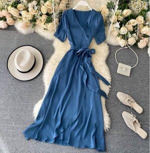 Платье на запах,синий