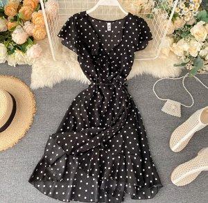 Платье на запах,черный