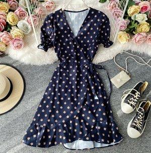 Платье на запах, темно-синий