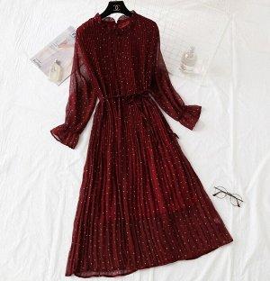 Шифоновое платье,бордо