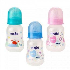 Бутылочка для кормления с силиконовой соской MEPSI, 125 мл, 0+,ассорт.(0200)