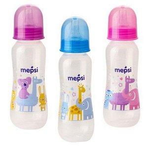 Бутылочка для кормления с силиконовой соской  MEPSI, 250 мл, 0+,ассорт. (0201)