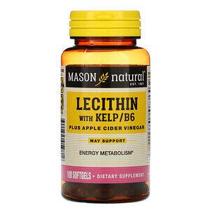 Mason Natural, Лецитин с водорослями/витамином B6 плюс яблочный уксус, 100 мягких таб