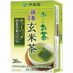 Чай зеленый листовой Ген майча фильтр пакет (с обжареным рисом и добавлением Маття) 40 гр.1/10 Япония
