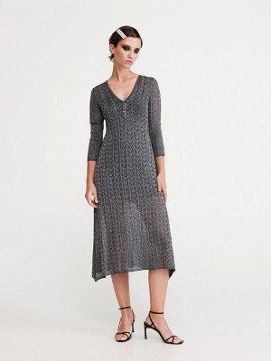 Блестящее платье из пестрого трикотажа с люрексом
