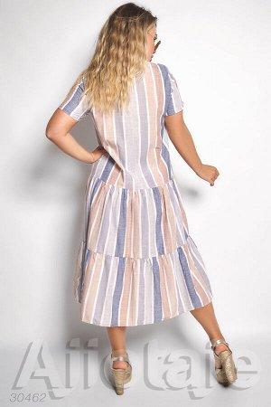 Платье миди в полоску с коротким рукавом