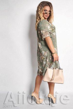 Шифоновое платье оливкового цвета