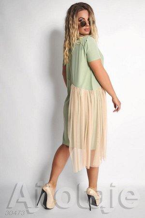 Платье оливкового цвета с сеточкой