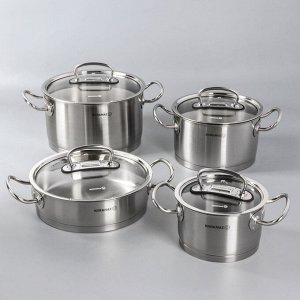 Набор посуды Korkmaz Pro line, 4 предмета: кастрюля 2/4/6,3 л, жаровня 3,1 л