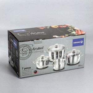 Набор посуды Aroma, 4 предмета: кастрюля 2 л / 3,7 л / 6,3 л; сотейник 1,5 л