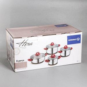 Набор посуды Hera red, 4 предмета: кастрюля 1,8 л / 3,5 л / 5,5 л; жаровня 3,5 л