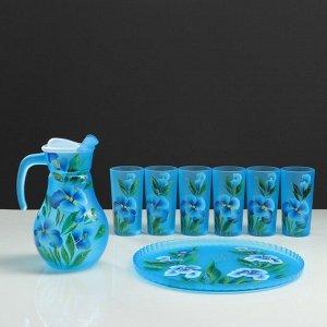 """Набор для сока с подносом """"Ирис"""" художественная роспись, 6 стаканов 1250/200 мл, синий"""