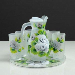 """Набор для сока с подносом """"Розы"""" художественная роспись, 6 стаканов 1250/200 мл, белый матов"""
