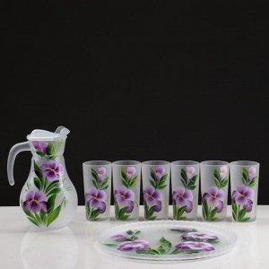 """Набор для сока с подносом """"Ирис"""" художественная роспись, 6 стаканов 1250/200 мл, белый матов"""