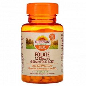 Sundown Naturals, Фолат, 1333 мкг DFE, 100 таблеток